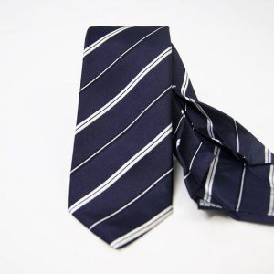 Jacquard - Sevenfold ties – blue background with white – COD.7P020 - 100% silk - made in Italy