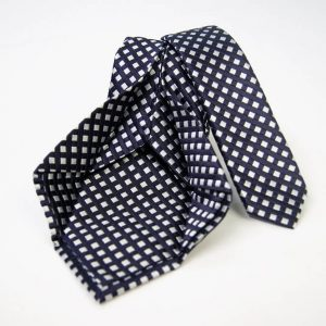 Jacquard - Sevenfold ties – blue background with white – COD.7P021 - 100% silk - made in Italy 2