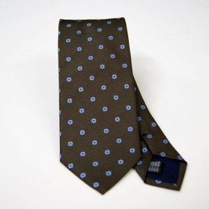 Cravatta - Jacquard – fondo marrone con azzurro – COD.N089 – seta 100% - made in Italy