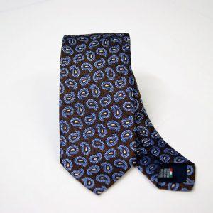 Cravatta - Jacquard – fondo marrone con azzurro – COD.N090 – seta 100% - made in Italy