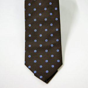 Cravatta - Jacquard – fondo marrone con azzurro – COD.N089 – seta 100% - made in Italy 2