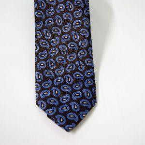 Cravatta - Jacquard – fondo marrone con azzurro – COD.N090 – seta 100% - made in Italy 2