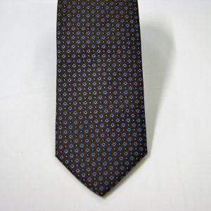 Cravatta - Jacquard – disegno classico - fondo marrone con azzurro – COD.N092 – seta 100% - made in Italy 2