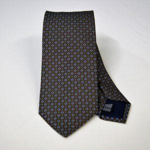 Cravatta - Jacquard – disegno classico - fondo marrone con azzurro – COD.N092 – seta 100% - made in Italy