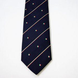 Cravatta - Jacquard – bandiera italiana - fondo blu – COD.N093 – seta 100% - made in Italy 2