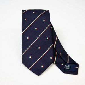 Cravatta - Jacquard – bandiera italiana - fondo blu – COD.N093 – seta 100% - made in Italy