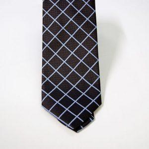 Cravatta - Jacquard – fondo marrone con azzurro – COD.N091 – seta 100% - made in Italy 2