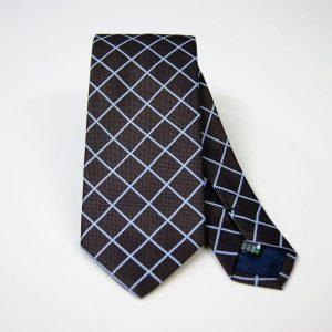 Cravatta - Jacquard – disegno quadro -fondo marrone con azzurro – COD.N091 – seta 100% - made in Italy