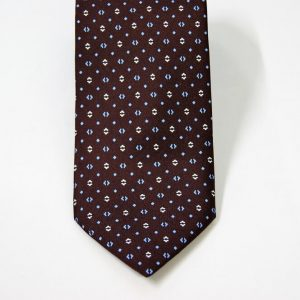 Twill ties – brown background – classic design - COD.N094 - 100% silk - made in Italy 2
