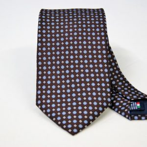 Twill ties - printed silk - classic designs - brown background - COD.N095 - 100% SILK - made in Italy
