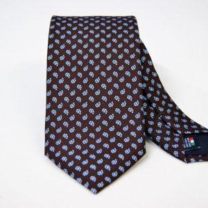 Cravatta - Twill – fondo marrone – disegno classico - COD.N096 – seta 100% - made in Italy