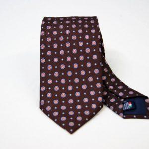 Cravatta - Twill – fondo marrone – disegno classico - COD.N097 – seta 100% - made in Italy
